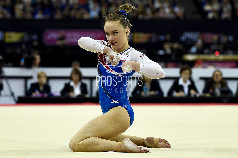 Amy Tinkler of Great Britain (GBR) on the Floor on her way to winning a Bronze Medal  during the iPro Sport World Cup of Gymnastics 2017 at the O2 Arena, London, United Kingdom on 8 April 2017. Photo by Martin Cole.