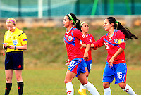 Fifa Womans World Cup Canada 2015 - Preview //<br /> Istria Cup 2015 Tournament ( Stella Maris Stadium , Umag - Croatia ) - <br /> Costarica vs Bosnia & Herzegovina 1-0  , <br /> Wendy Acosta of Costarica (L) celebrates with team mates Katherine Alvarado (R) ,<br /> after score his Goal (1-0) during the match