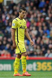 Tottenham Hotspur's Erik Lamela cuts a dejected figure - Photo mandatory by-line: Dougie Allward/JMP - Mobile: 07966 386802 - 09/05/2015 - SPORT - Football - Stoke - Britannia Stadium<br />  - Stoke v Tottenham Hotspur - Barclays Premier League