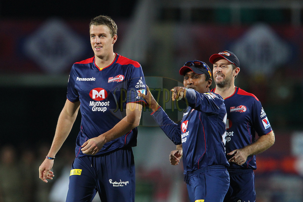 Morne Morkel celebrates the wicket of Shaun Marsh with Mahela Jayawardene and Ben Rorher during match 67 of the Pepsi Indian Premier League between The Kings XI Punjab and the Delhi Daredevils held at the HPCA Stadium in Dharamsala, Himachal Pradesh, India on the on the 16th May 2013..Photo by Ron Gaunt-IPL-SPORTZPICS ..Use of this image is subject to the terms and conditions as outlined by the BCCI. These terms can be found by following this link:..http://www.sportzpics.co.za/image/I0000SoRagM2cIEc