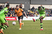 Forest Green Rovers Isaiah Osbourne(34) shoots at goal during the EFL Sky Bet League 2 match between Barnet and Forest Green Rovers at The Hive Stadium, London, England on 7 April 2018. Picture by Shane Healey.