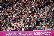 Great Britain, London - 2017 August 04: Audience during IAAF World Championships London 2017 at  London Stadium on August 04, 2017 in London, Great Britain.<br /> <br /> Mandatory credit:<br /> Photo by &copy; Adam Nurkiewicz<br /> <br /> Adam Nurkiewicz declares that he has no rights to the image of people at the photographs of his authorship.<br /> <br /> Picture also available in RAW (NEF) or TIFF format on special request.<br /> <br /> Any editorial, commercial or promotional use requires written permission from the author of image.