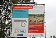 Sign for viewing platform under construction,ENCI quarry, Pietersberg, Maastricht, Limburg province, Netherlands