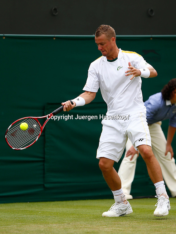 Wimbledon Championships 2013, AELTC,London,<br /> ITF Grand Slam Tennis Tournament,<br /> Lleyton Hewitt (AUS),Aktion,Einzelbild,<br /> Ganzkoerper,Hochformat,