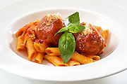 Penne and meatballs.