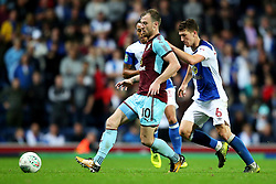 Ashley Barnes of Burnley and Richard Smallwood of Blackburn Rovers - Mandatory by-line: Matt McNulty/JMP - 23/08/2017 - FOOTBALL - Ewood Park - Blackburn, England - Blackburn Rovers v Burnley - Carabao Cup - Second Round