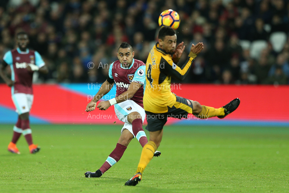 Dimitri Payet of West Ham United taking a shot at goal. Premier league match, West Ham Utd v Arsenal at the London Stadium, Queen Elizabeth Olympic Park in London on Saturday 3rd December 2016.<br /> pic by John Patrick Fletcher, Andrew Orchard sports photography.