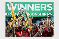 Portugal captain Diogo Queirós with the trophy. Italy - Portugal. Under-19 European Championship. Seinäjoki, Finland, July 29, 2018.