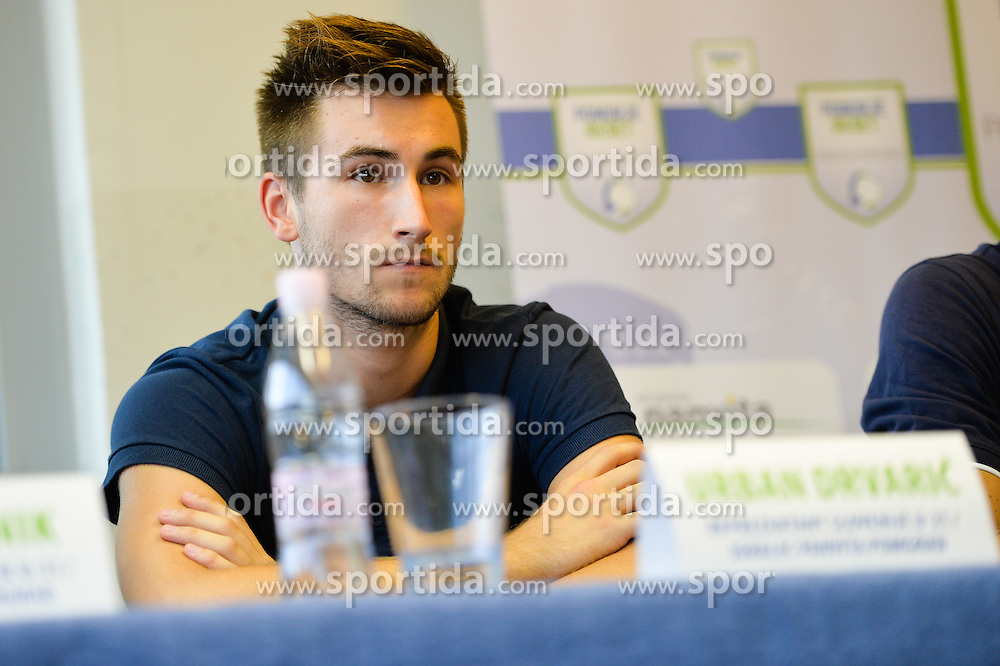 Urban Drvaric of U21 Nationalteam during the press conference before the Friendly Volleyball match between OK Panvita Pomgrad and U21 Nationalteam of Slovenia on August 28, 2015 in Murska Sobota, Slovenia. Photo by Mario Horvat / Sportida