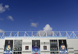 Cardiff City Stadium dressed in branding for the Uefa Super Cup 2014 - Photo mandatory by-line: Joe Meredith/JMP - Mobile: 07966 386802 11/08/2014 - SPORT - FOOTBALL - Cardiff - Cardiff City Stadium - Real Madrid v Sevilla - UEFA Super Cup - Press Conference and Open Training session