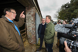 Pictured: Michael Gove, Alister Jack with farmer Donald Biggar.<br /> <br /> Chancellor of the Duchy of Lancaster Michael Gove visited Grange Farm in Dumfries & Galloway with Conservative candidate Alister Jack during the election campaign to highlight the beefits of Brexit to the farming sector.<br /> <br /> © Dave Johnston / EEm