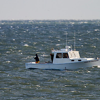 The fishing charter boat Fins on Feathers fishing off of Sea Bright.  Gale force winds did not stop the charter from targeting Striped Bass moving along the beach as they migrated south for the winter.
