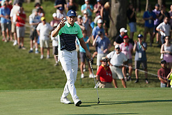 August 9, 2018 - St. Louis, Missouri, United States - Jordan Spieth waves to the crowd after putting during the first round of the 100th PGA Championship at Bellerive Country Club. (Credit Image: © Debby Wong via ZUMA Wire)