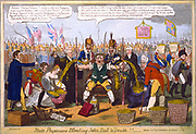 State Physicians Bleeding John Bull to Death!!, G Cruikshank cartoon 1816. From left:  Lord Brougham, Prince Leopold and Princess Charlotte, Chancellor of Exchequer, John Bull, Castlereagh, George IV, Prussia, Austria, Russia taking gold.