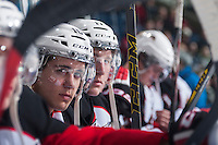 KELOWNA, CANADA - DECEMBER 5: Tyler Mrkonjic #10 of Prince George Cougars sits on the bench against the Kelowna Rockets on December 5, 2014 at Prospera Place in Kelowna, British Columbia, Canada.  (Photo by Marissa Baecker/Shoot the Breeze)  *** Local Caption *** Tyler Mrkonjic;
