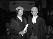 Ms Mella Carroll Appointed To Supreme Court (N44)..1980..06.10.1980..10.06.1980..6th October 1980..Today saw history in the making when Ms Mella Carroll QC was appointed as Judge of the Supreme Court. This is the first time in the states history that this appointment has been bestowed on a woman..Image shows Judge Carroll being congratulated on her appointment by The Chief Justice Mr Tom O'Higgins