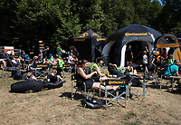 Riders and spectators enjoy a break in the Green Park Festival Zone, part of The Prudential RideLondon FreeCycle. Saturday 28th July 2018<br /> <br /> Photo: Jed Leicester for Prudential RideLondon<br /> <br /> Prudential RideLondon is the world's greatest festival of cycling, involving 100,000+ cyclists - from Olympic champions to a free family fun ride - riding in events over closed roads in London and Surrey over the weekend of 28th and 29th July 2018<br /> <br /> See www.PrudentialRideLondon.co.uk for more.<br /> <br /> For further information: media@londonmarathonevents.co.uk