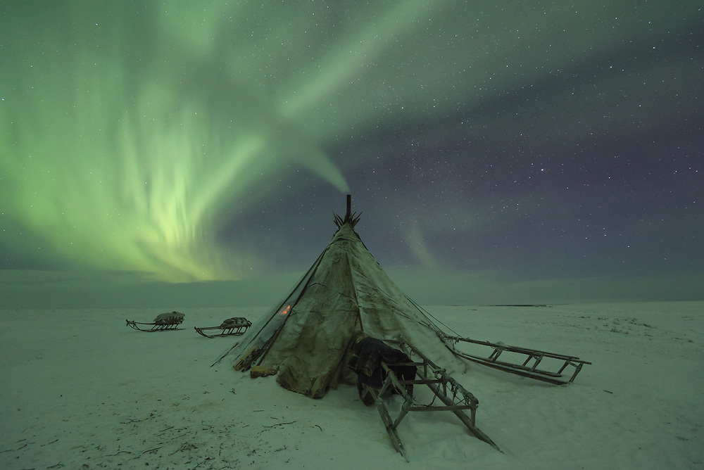 The aurora borealis, also known as the northern lights, above a Nenets Chum on the Yamal Peninsula, Russia.