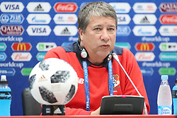 June 17, 2018 - Sochi, RUSSIA - Panama's Head Coach Hernan Gomez pictured during a press conference of the Panama national soccer team in Sochi, Russia, Sunday 17 June 2018. The team is preparing for their first game at the FIFA World Cup 2018 against Belgian national soccer team the Red Devils tomorrow. BELGA PHOTO BRUNO FAHY (Credit Image: © Bruno Fahy/Belga via ZUMA Press)