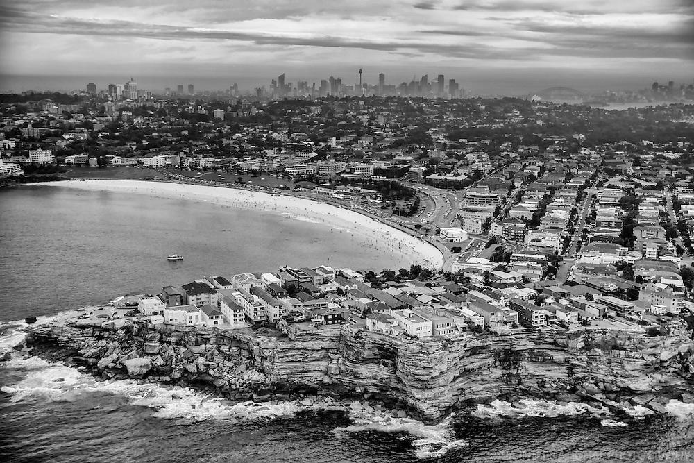 Bondi Beach & Sydney Skyline (monochrome)