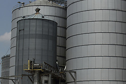 metal grain bin with conveyors and scaffolding is part of a larger grain elevator, storage and processing facility in central illinois.