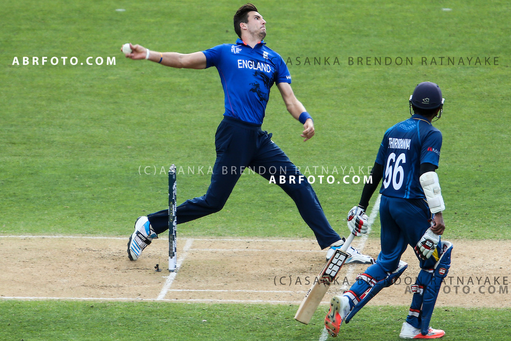 Steven Finn bowling during the 2015 ICC Cricket World Cup Pool A group match between England Vs Sri Lanka at the Wellington Regional Stadium, Wellington, New Zealand.