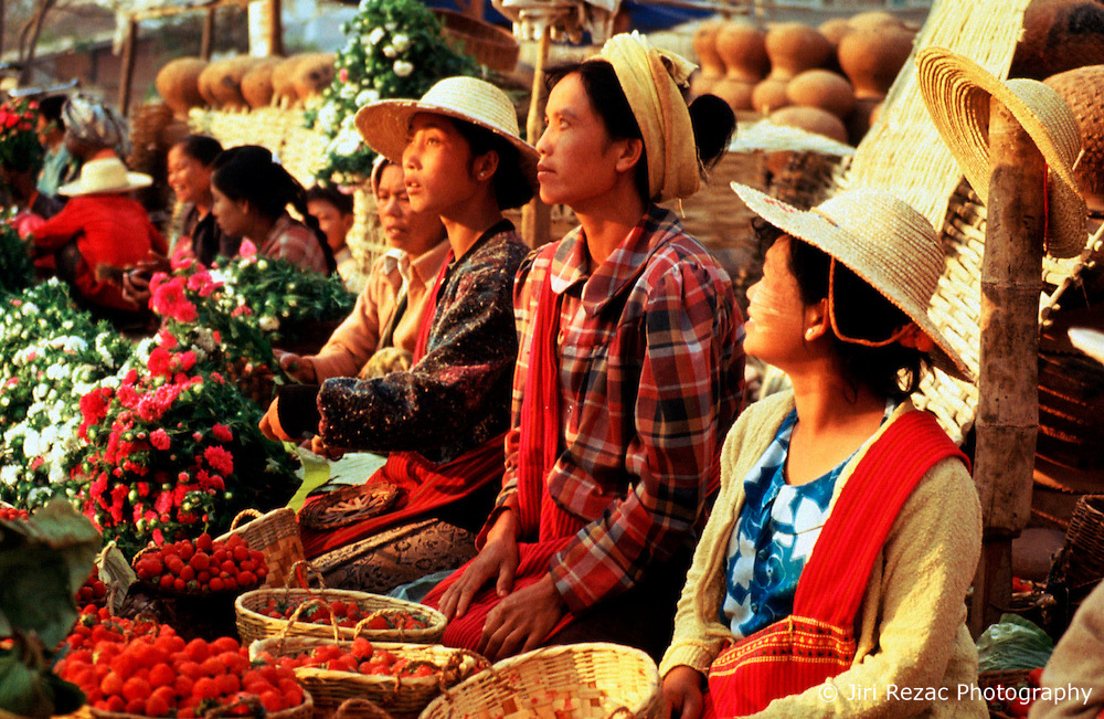 BURMA TAUNGGYI MAR95 - Women from various hill tribes offer flowers and strawberries on the central market at Taunggyi. As the capital of the Shan state, Taunggyi's central market has remained an important trading place. .. jre/Photo by Jiri Rezac. . © Jiri Rezac 1995. . Contact: +44 (0) 7050 110 417. Mobile: +44 (0) 7801 337 683. Office: +44 (0) 20 8968 9635. . Email: jiri@jirirezac.com. Web: www.jirirezac.com