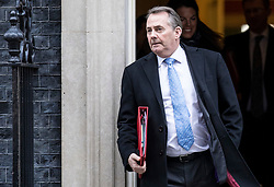 © Licensed to London News Pictures. 29/01/2019. London, UK. Secretary of State for International Trade Liam Fox leaves 10 Downing Street after the Cabinet meeting, as Brexit negotiations continue. MPs will vote on a series of amendments this evening. Photo credit: Rob Pinney/LNP