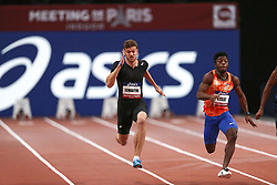 February 7, 2018 - Paris, Ile-de-France, France - From left to right : Christophe Lemaitre of France and Gue Arthur Cisse of Ivory Coast compete in 60m during the Athletics Indoor Meeting of Paris 2018, at AccorHotels Arena (Bercy) in Paris, France on February 7, 2018. (Credit Image: © Michel Stoupak/NurPhoto via ZUMA Press)