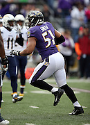 Baltimore Ravens inside linebacker Daryl Smith (51) celebrates after intercepting a San Diego Chargers pass during the NFL week 13 regular season football game against the San Diego Chargers on Sunday, Nov. 30, 2014 in Baltimore. The Chargers won the game 34-33. ©Paul Anthony Spinelli