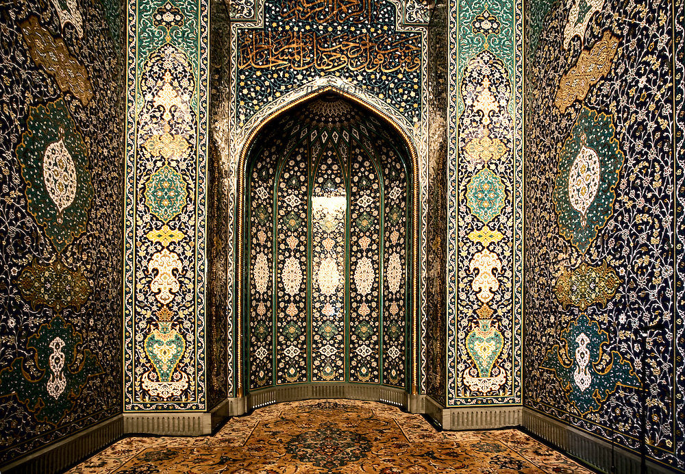 Muscat, Grand Mosque of Sultan Qaboos. Mihrab, covered with modern Persian ceramic tiles ornament.