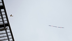 DUBLIN, REPUBLIC OF IRELAND - Wednesday, May 14, 2014: A banner is flown reading 'Giggs 13 Gerrard 0 MUFC 20 Times' during a postseason friendly  match between Liverpool and Shamrock Rovers at Lansdowne Road. (Pic by David Rawcliffe/Propaganda)