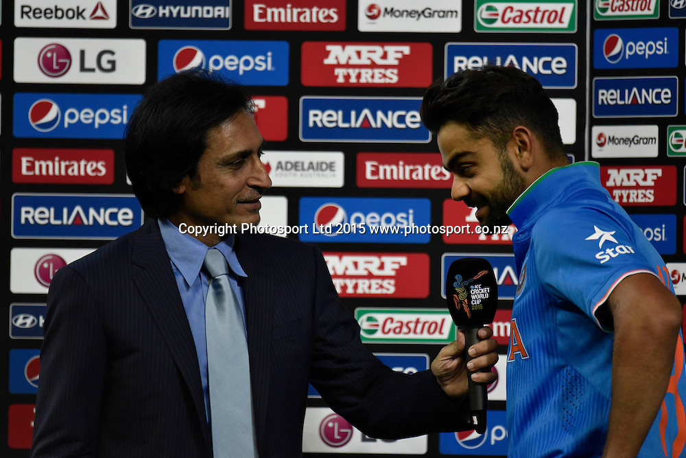 Virat Kohli addressing the media during the ICC Cricket World Cup match between India and Pakistan at Adelaide Oval in Adelaide, Australia. Sunday 15 February 2015. Copyright Photo: Raghavan Venugopal / www.photosport.co.nz