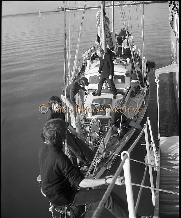 """Transatlantic Race - 'Creidne' Old Sailor .15/04/1976.04/15/1976.15th April 1976.The sail training vessel """"Creidne"""" leaves Dun Laoghaire to participate in the transatlantic races of sail training vessels organised to coincide  with the American Bicentennial Commemoration.  ..Picture shows the """"Creidne"""" casting off from Dun Laoghaire harbour.  Originaly named Galcador, Creidne is a 48ft bermudan ketch built in Norway in 1967 as a private yacht."""