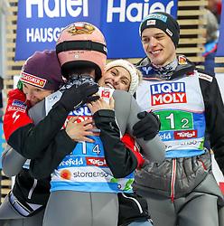 02.03.2019, Seefeld, AUT, FIS Weltmeisterschaften Ski Nordisch, Seefeld 2019, Skisprung, Mixed Team Bewerb, im Bild v.l. Daniela Iraschko-Stolz (AUT), Stefan Kraft (AUT), Eva Pinkelnig (AUT), Philipp Aschenwald (AUT) // f.l. Daniela Iraschko-Stolz of Austria Stefan Kraft of Austria Eva Pinkelnig of Austria Philipp Aschenwald of Austria during the mixed team competition in ski jumping of nordic combination of FIS Nordic Ski World Championships 2019. Seefeld, Austria on 2019/03/02. EXPA Pictures © 2019, PhotoCredit: EXPA/ JFK