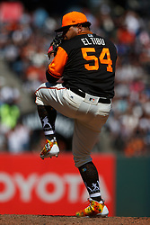SAN FRANCISCO, CA - AUGUST 26: Reyes Moronta #54 of the San Francisco Giants pitches against the Texas Rangers during the eighth inning at AT&T Park on August 26, 2018 in San Francisco, California. The San Francisco Giants defeated the Texas Rangers 3-1. All players across MLB will wear nicknames on their backs as well as colorful, non-traditional uniforms featuring alternate designs inspired by youth-league uniforms during Players Weekend. (Photo by Jason O. Watson/Getty Images) *** Local Caption *** Reyes Moronta