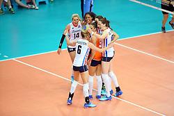 18-06-2016 ITA: World Grand Prix Italie - Nederland, Bari<br /> Nederland wint opnieuw van Italie, het ging moeizaam maar de 3-1 winst was genoeg / Laura Dijkema #14, Celeste Plak #4, Lonneke Sloetjes #10<br /> <br /> ***NETHERLANDS ONLY***