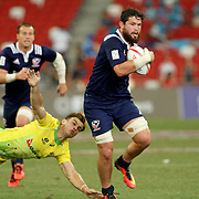 Danny Barrett contributed to the USA Eagles 40 points over Australia's 7 to propel America into a North American Cup Final at the Singapore HSBC Sevens, Day 2, National Stadium, Singapore.  Photo by Barry Markowitz, 4/16/17