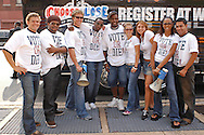 EDS NOTE: EMBARGOED: PHILADELPHIA - JULY 15: MTV's The Real World cast members along with P. Diddy attempt to register voters July 15, 2004 in Philadelphia, Pennsylvania. (Photo by William Thomas Cain/MTV via Getty Images)