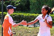 """Ruben Heijmerink und Camille Gbaguidi-Keller, European Maccabi Games, LTTC """"Rot-Weiß"""", Berlin, 02.08.2015, Foto: Claudio Gaertner"""