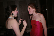 Alice Carter and Sophie Ely. White Knights Ball, Grosvenor House Hotel 7 January 2005. ONE TIME USE ONLY - DO NOT ARCHIVE  © Copyright Photograph by Dafydd Jones 66 Stockwell Park Rd. London SW9 0DA Tel 020 7733 0108 www.dafjones.com