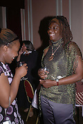 Desdemona Ndanga and Spiwe Takura. Book launch of Take A Girl Like Me - Life With George by Diana Melly. The Polish Club. Exhibition Rd. London. 21 July 2005. ONE TIME USE ONLY - DO NOT ARCHIVE  © Copyright Photograph by Dafydd Jones 66 Stockwell Park Rd. London SW9 0DA Tel 020 7733 0108 www.dafjones.com