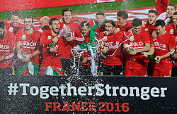 CARDIFF, WALES - Tuesday, October 13, 2015: Wales players celebrate after qualifying for the finals following a 2-0 victory over Andorra during the UEFA Euro 2016 qualifying Group B match at the Cardiff City Stadium. Gareth Bale, Aaron Ramsey, goalkeeper Daniel Ward, Neil Taylor, Simon Church, Andy King, Emyr Huws, Ben Davies, Wes Burns, Tom Lawrence. (Pic by Paul Currie/Propaganda)