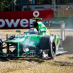 F1 Australian Grand Prix 15 March 2013 Practice Session 2.Practice Session 2. Giedo Van Der Garde Caterham slides out on turn 9.(c) MILOS LEKOVIC | StockPix.eu