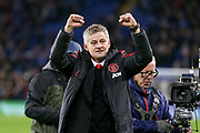 Manchester United interim Manager Ole Gunnar Solskjaer applauds the fans after the Premier League match between Cardiff City and Manchester United at the Cardiff City Stadium, Cardiff, Wales on 22 December 2018.