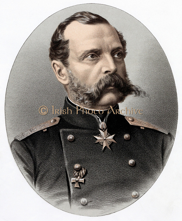 Alexander II (1818-1881) Tsar of Russia from 1855. Known as 'The Liberator'. Emancipated the serfs in 1861. Assassinated.  Tinted lithograph c1880.