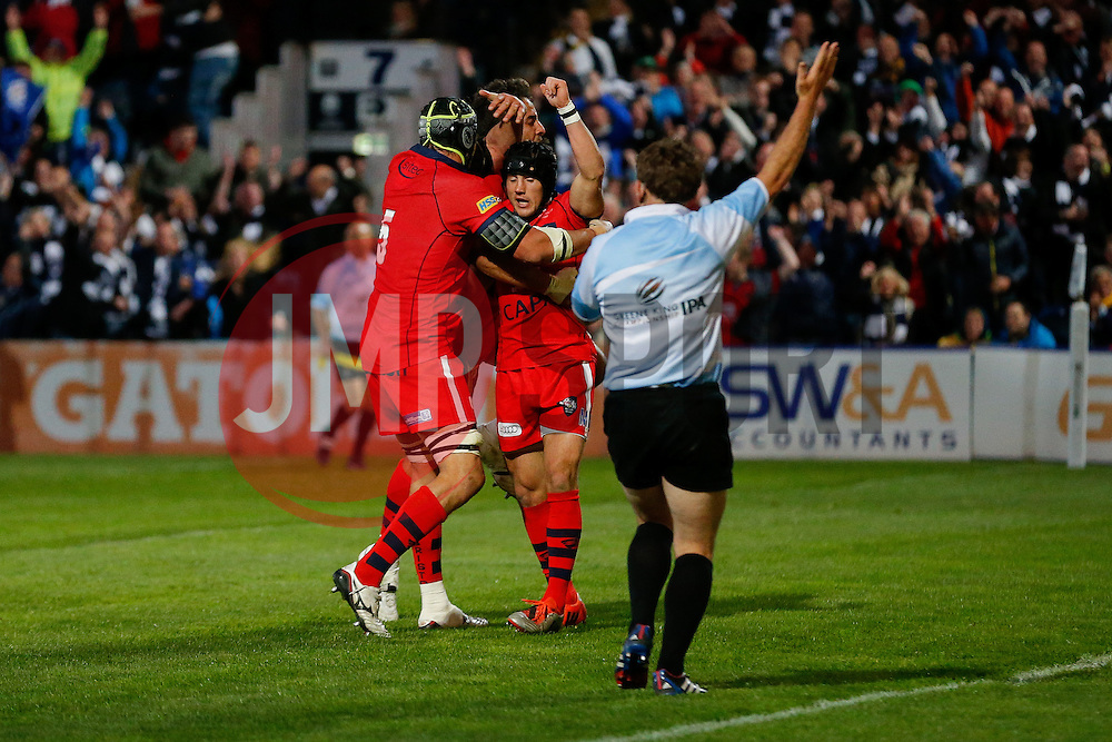 Bristol Rugby replacement Matthew Morgan celebrates with Lock Mark Sorenson and Flanker Marco Mama as referee JP Doyle awards him a try - Photo mandatory by-line: Rogan Thomson/JMP - 07966 386802 - 27/05/2015 - SPORT - Rugby Union - Worcester, England - Sixways Stadium - Worcester Warriors v Bristol Rugby - Greene King IPA Championship Play-Off Final 2nd Leg.