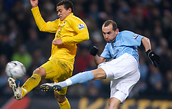 MANCHESTER, ENGLAND - Tuesday, December 18, 2007: Manchester City's Martin Petrov in action against Tottenham Hotspur's Jermaine Jenas during the League Cup Quarter Final match at the City of Manchester Stadium. (Photo by David Rawcliffe/Propaganda)