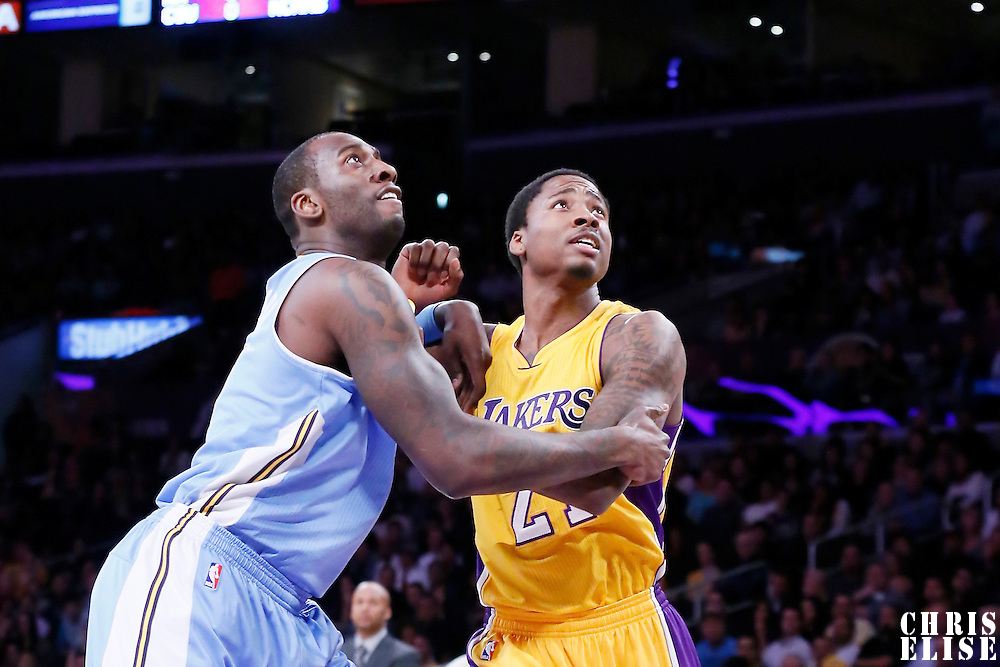10 February 2015: Denver Nuggets forward J.J. Hickson (7) vies for the rebound with Los Angeles Lakers forward Ed Davis (21) during the Denver Nuggets 106-96 victory over the Los Angeles Lakers, at the Staples Center, Los Angeles, California, USA.