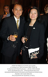 JIMMY & REBECCA CHOO at a party in London on 15th October 2003.PNM 38